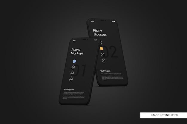 검은 휴대 전화 화면 이랑 프리미엄 PSD 파일