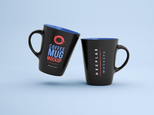Black mugs with editable  color mockup Premium Psd