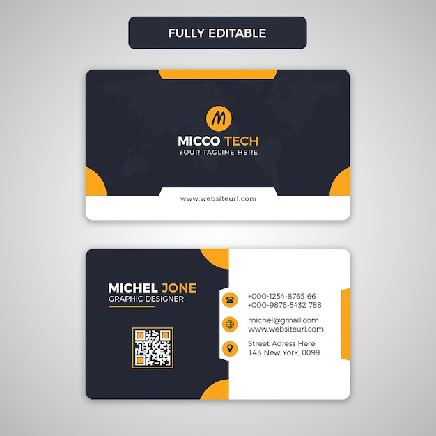 Black and orange business card Premium Psd
