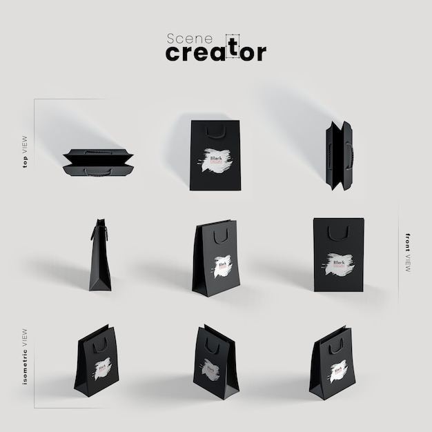 Black paper bag various angles for scene creator illustrations Free Psd