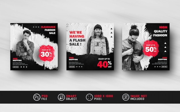 Black red instagram social media post feed banner template with splash style Premium Psd