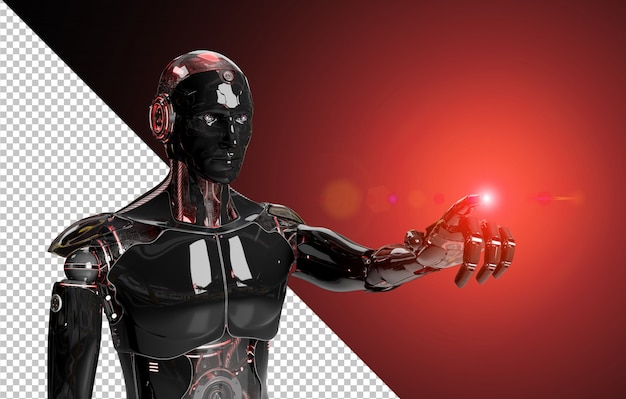 Black and red intelligent robot pointing finger 3d rendering cut out Premium Psd