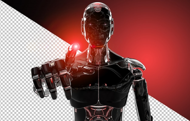 Black and red intelligent robot pointing finger Premium Psd