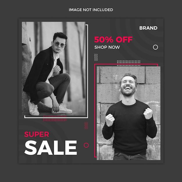Black sale social media instagram post template Premium Psd