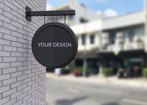 Black shop sign mockup Premium Psd