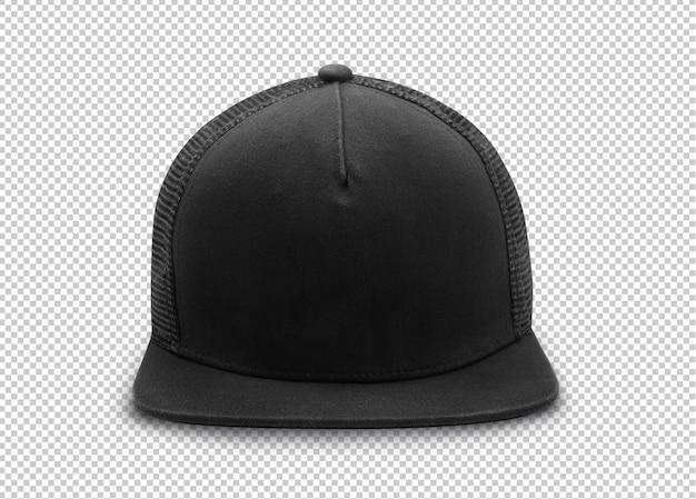Black snapback cap mockup template  on transparent . Premium Psd