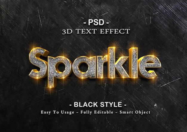 블랙 스파클 텍스트 효과 템플릿 프리미엄 PSD 파일