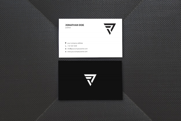 Black surface vertical businesscard mockup Premium Psd