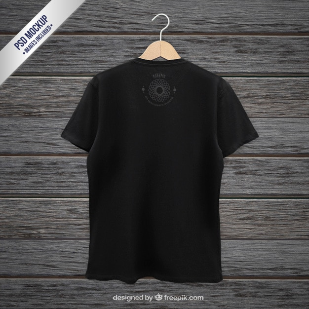 Black t-shirt back mockup Free Psd