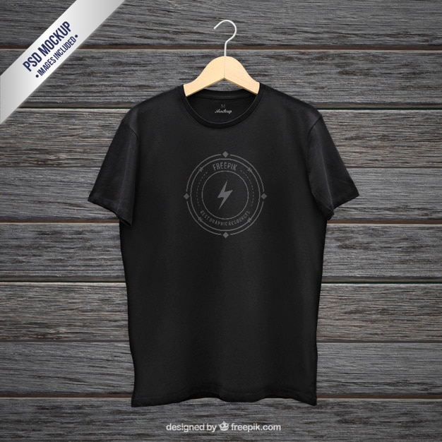 Download Mockup Shirt T FileFree Psd Black pVSMUz