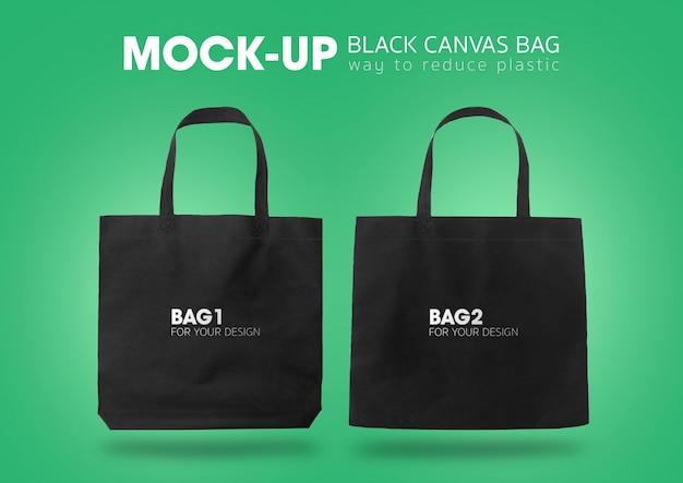 Black tote shopping bags mock-up Premium Psd