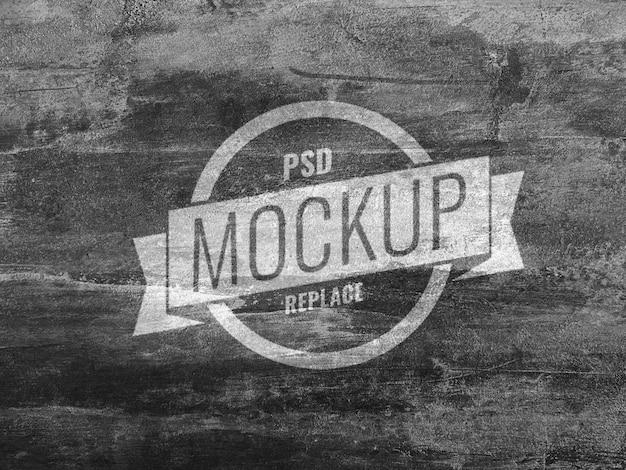 Черный настенный бетонный макет логотипа Premium Psd
