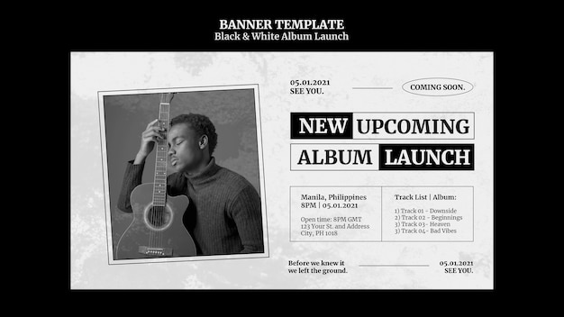 Black and white album launch banner Free Psd