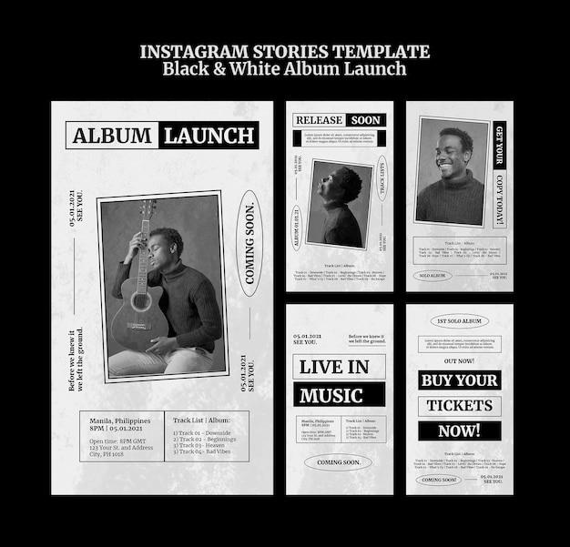 Black and white album launch instagram stories Premium Psd