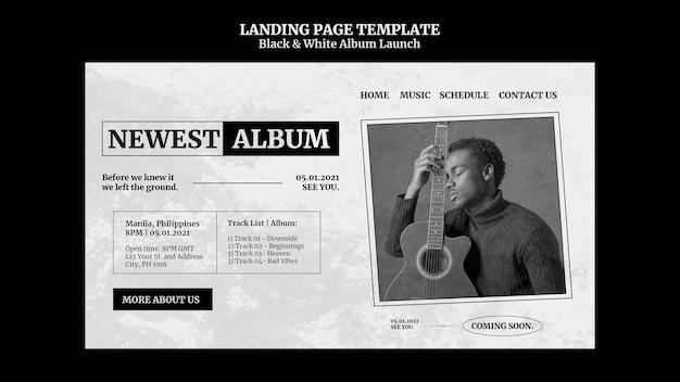 Black and white album launch landing page Premium Psd