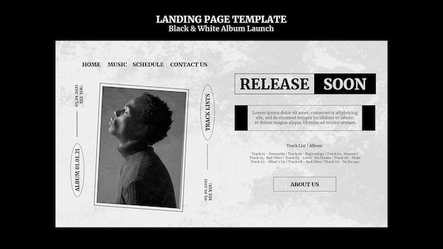 Black and white album launch landing page Premium Psd