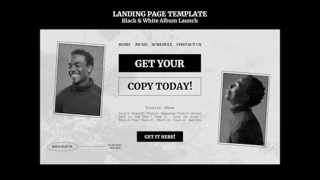 Black and white album launch landing page Free Psd
