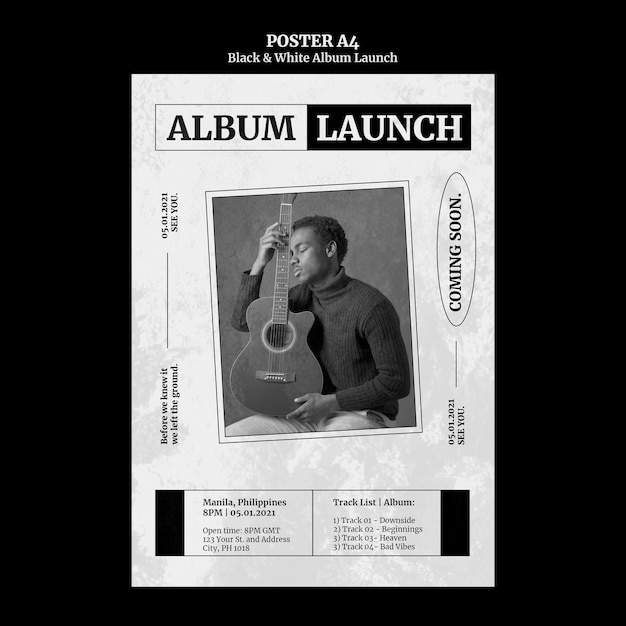 Black and white album launch poster Free Psd
