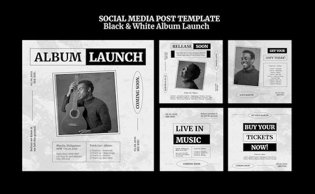 Black and white album launch social media post Free Psd