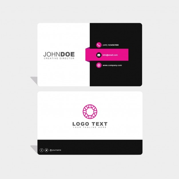 Black, white and pink business card Free Psd