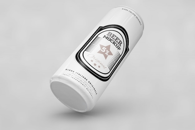 Black and white beer can mock up Free Psd