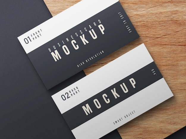 Black and white business card mockup design Free Psd
