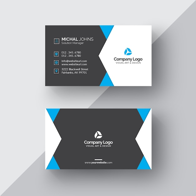 Black and white business card with blue details Free Psd