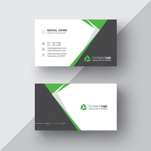 Black and white business card with green details Free Psd
