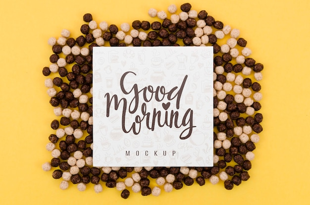 Black and white cereals with good morning message Free Psd