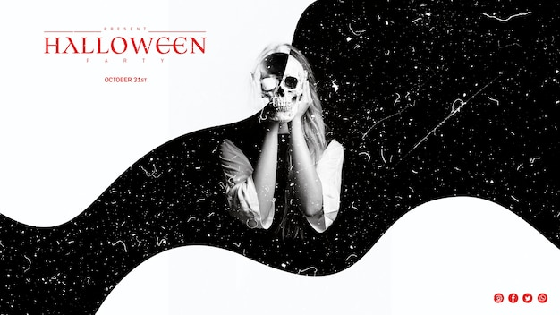 Black and white effect on woman holding a skull Free Psd