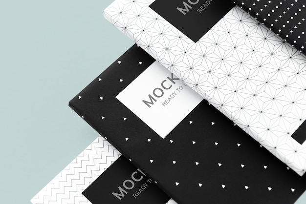 Black and white patterned notebook mockups Free Psd