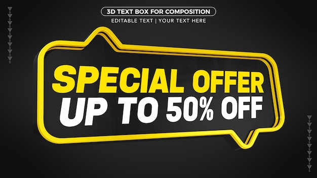 Black and yellow d special offer text box with discount in 3d rendering Premium Psd