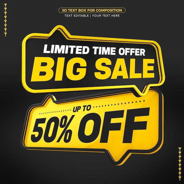 Black and yellow text boxes big sale text with up to discount