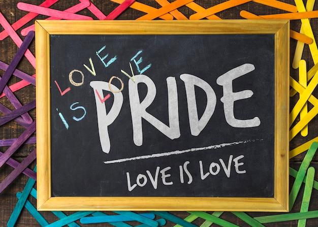 Blackboard gay pride mockup Free Psd