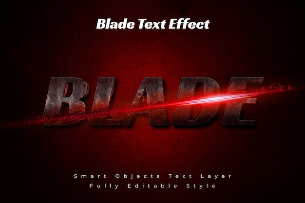 Blade text effect Premium Psd