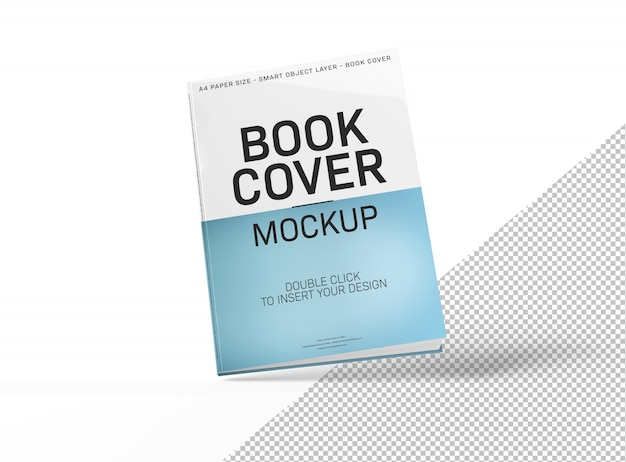 Blank book cover mockup isolated and floating on white Premium Psd