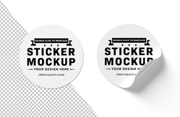 Blank curled sticker isolated on white PSD file | Premium