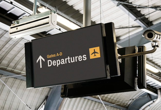 Blank digital billboard at the airport mockup Free Psd
