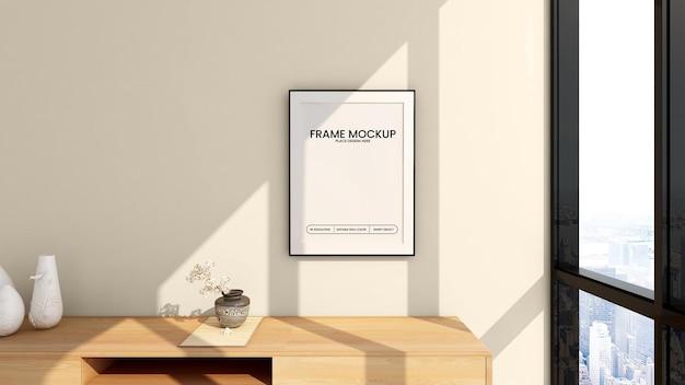 Blank frame mockup design 3d rendering Premium Psd