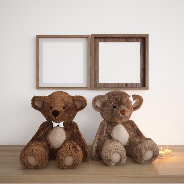 Пустые рамки с мишками и свечами Бесплатные Psd