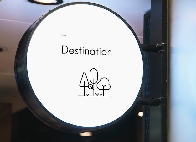 Blank minimal circular shop signboard mockup Free Psd