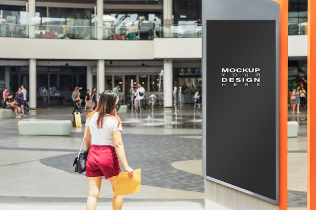 Blank mock up of street poster advertising billboard in the city for your advertising Premium Psd