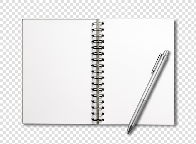 Blank open spiral notebook and pen isolated Premium Psd