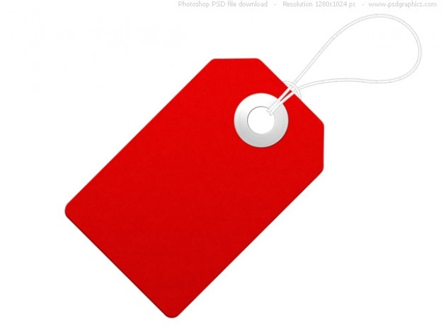 Blank paper label, red price tag PSD file | Free Download