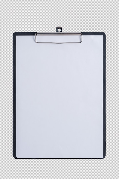 Blank paper on pad clipboard isolated on white background Premium Psd