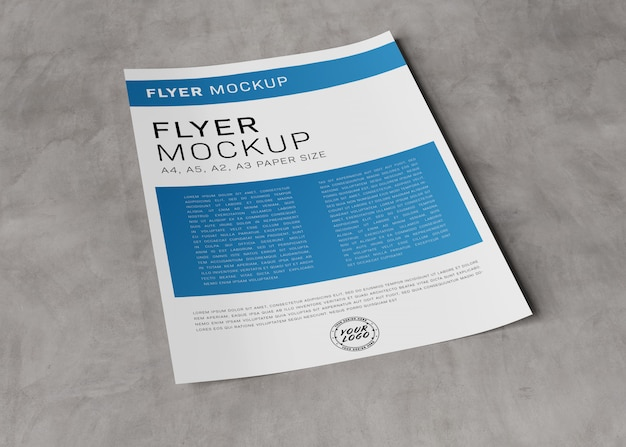 Blank paper sheet on concrete mockup Premium Psd