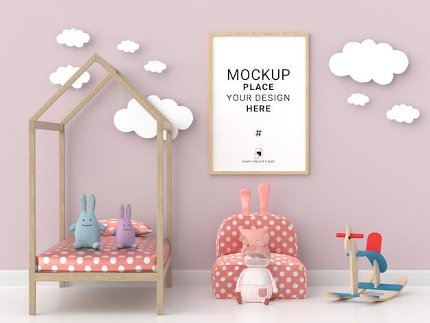 Пустая фоторамка для макета в розовой детской комнате Premium Psd