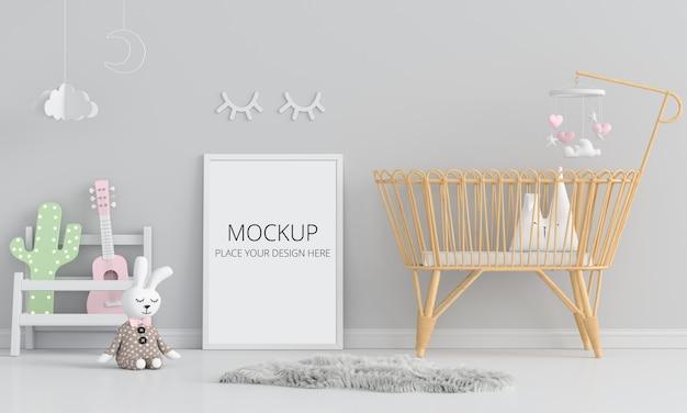 Blank photo frame for mockup in child room Premium Psd