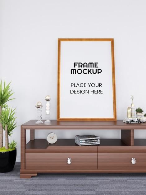 책상에 빈 사진 프레임 모형 프리미엄 PSD 파일