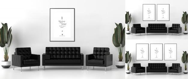 Blank photo frames for mockups in living room Premium Psd